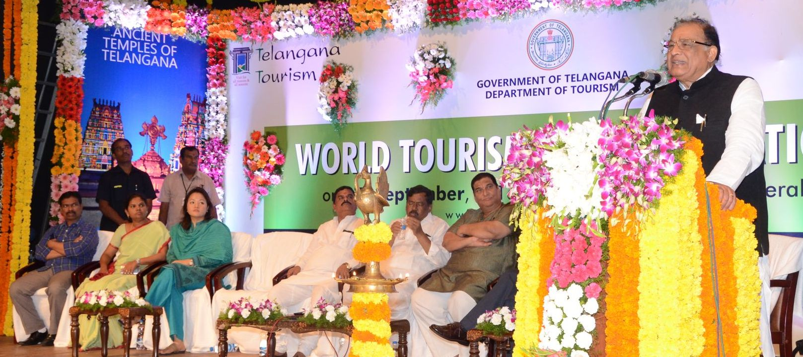 TS Legislative Council Chairman K.Swamy Goud, A. Chandu Lal, Minister For Tourism & Culture, Chairman P. Ramulu, TS TDC, Sunita M Bhagwat, Tourism Commissioner, Christina Z Chongtu , Managing Director TS TDC And Other Officials Participating In The World Tourism Day Celebrations At Ravindra Bharathi On 27-09-2016.