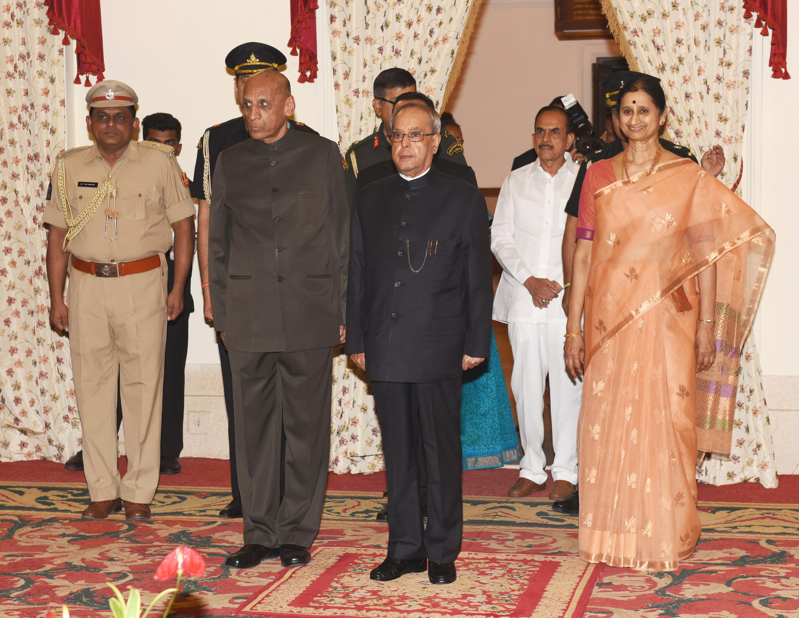 E.S.L.Narasimhan, Governor Is Seen Hosting The State Banquet In Honour Of The Honble President Of India Pranab Mukherjee At Raj Bhavan 30.06.2015